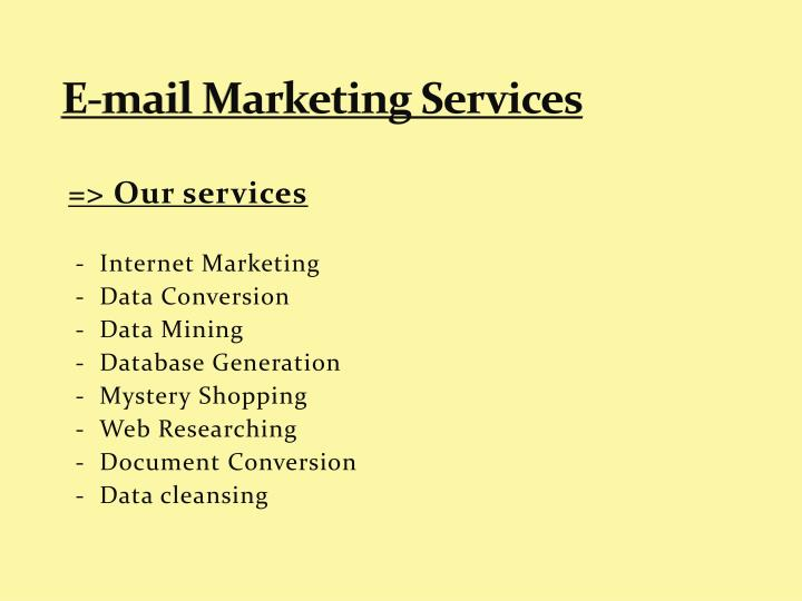 E-mail Marketing Services