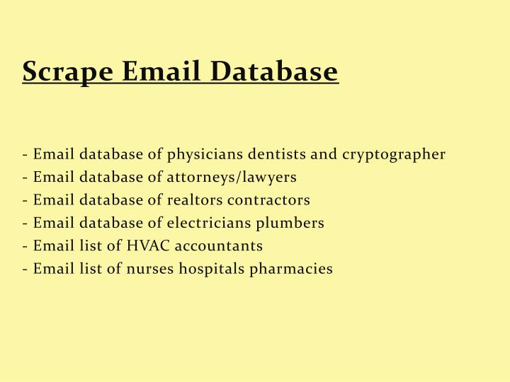 Scrape Email Database