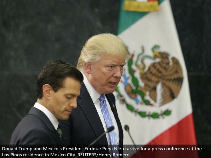 Donald Trump and Mexico's President Enrique Pena Nieto touch base for a public interview at the Los Pinos home in Mexico City. REUTERS/Henry Romero