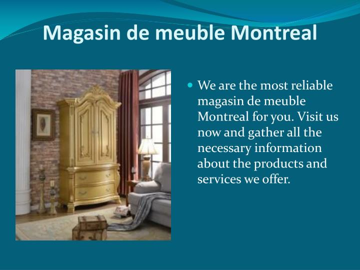 Ppt liquidation de meubles powerpoint presentation id for Boutique meuble montreal