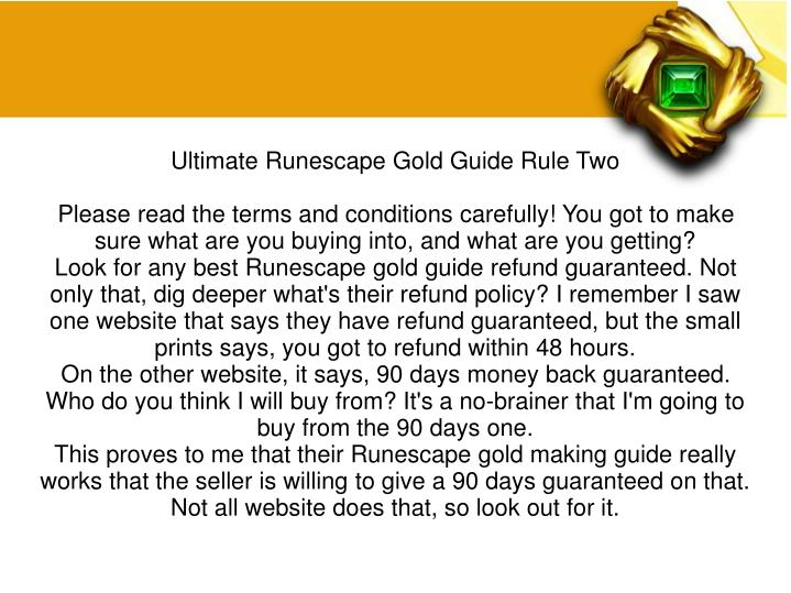 Ultimate Runescape Gold Guide Rule Two