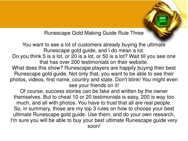 Runescape Gold Making Guide Rule Three