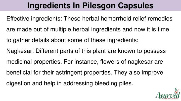Ingredients In Pilesgon Capsules