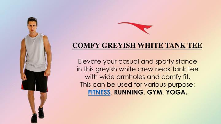 COMFY GREYISH WHITE TANK TEE