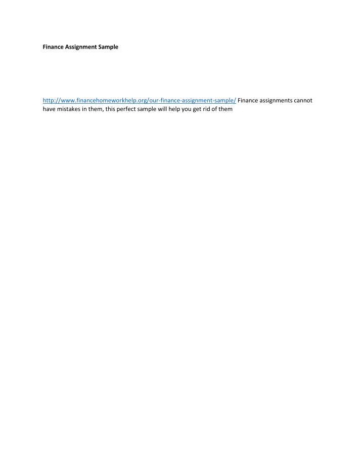 Finance Assignment Sample