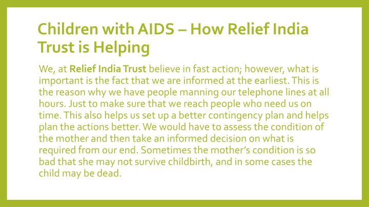 Children with AIDS – How Relief India Trust is Helping