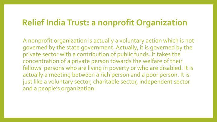 Relief India Trust: a nonprofit Organization