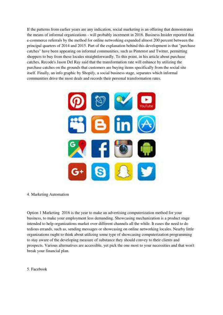 If the patterns from earlier years are any indication, social marketing is an offering that demonstrates