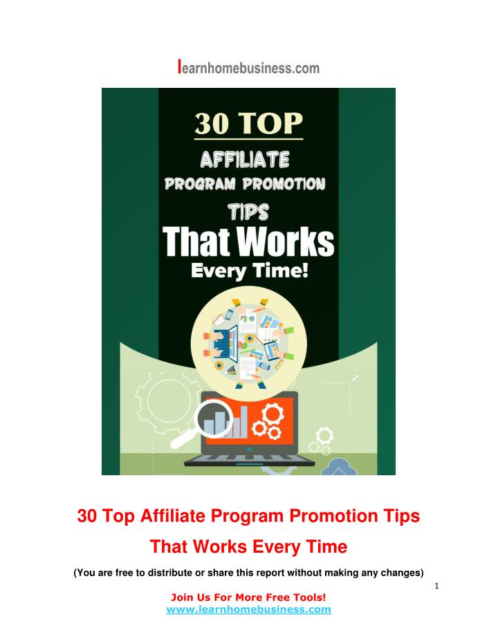 30 Top Affiliate Program Promotion Tips