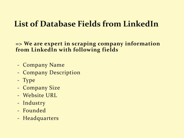 List of Database Fields from LinkedIn