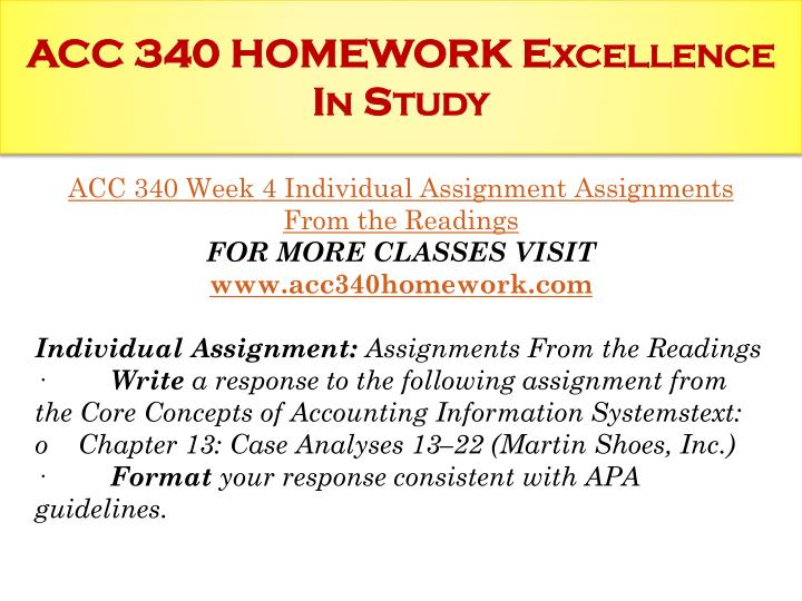 ACC 340 HOMEWORK Excellence In Study