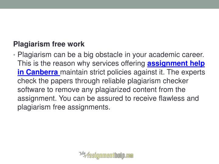 Assignment service no plagiarism