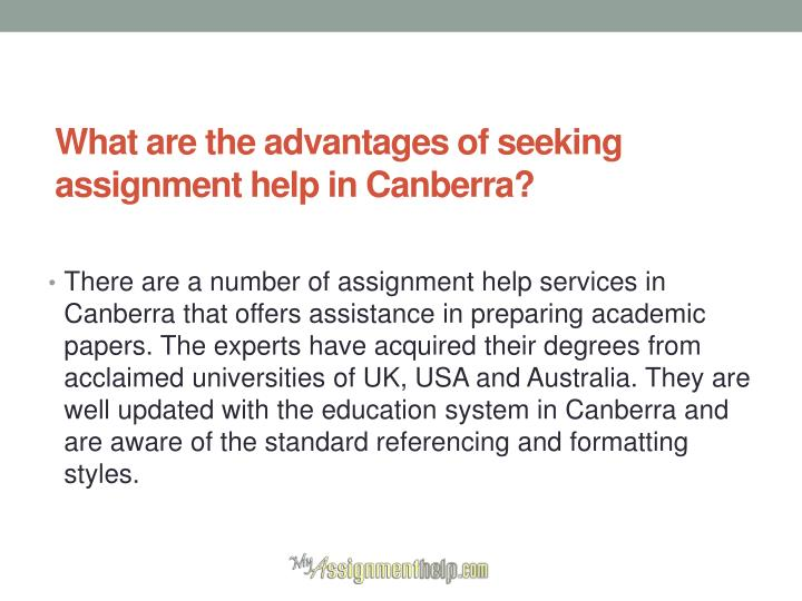 What are the advantages of seeking assignment help in Canberra?