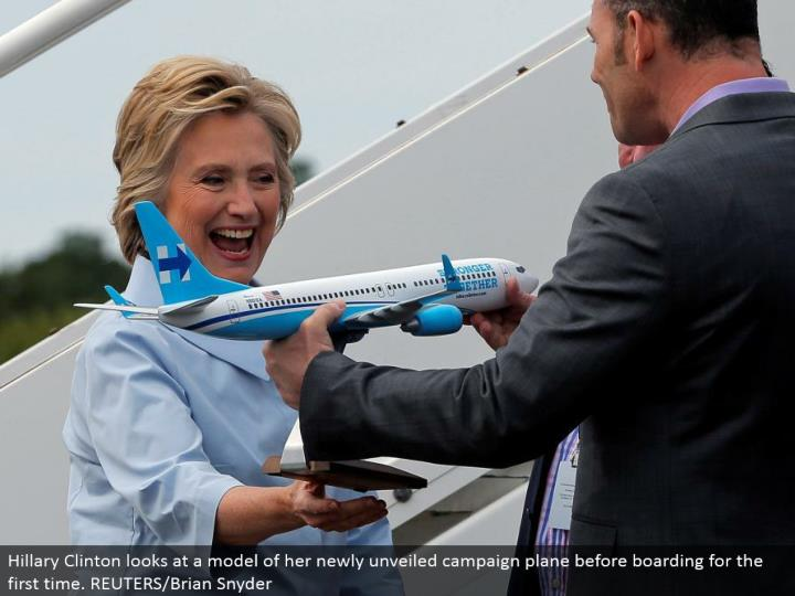 Hillary Clinton takes a gander at a model of her recently divulged battle plane before loading up interestingly. REUTERS/Brian Snyder