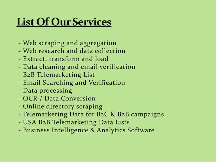 List Of Our Services