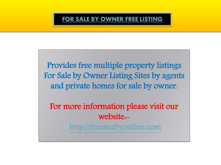 ppt - for sale by owner website powerpoint presentation