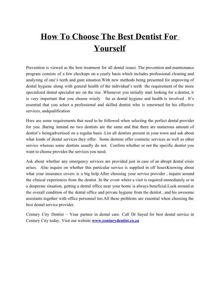 How To Choose The Best Dentist For