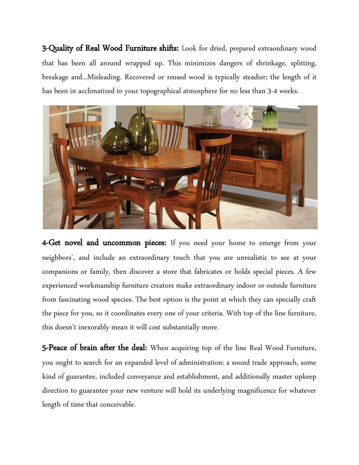 3 3- -Quality of Real Wood Furniture shifts: