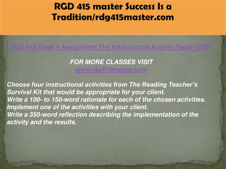 RGD 415 master Success Is a Tradition/rdg415master.com
