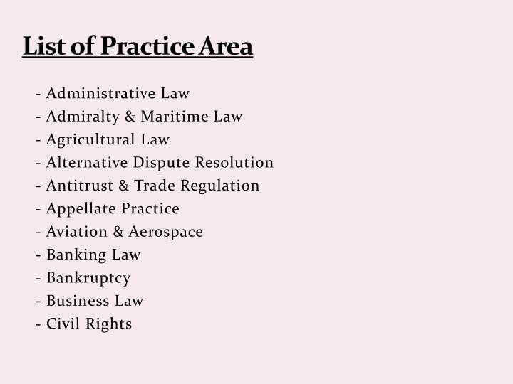 List of Practice Area