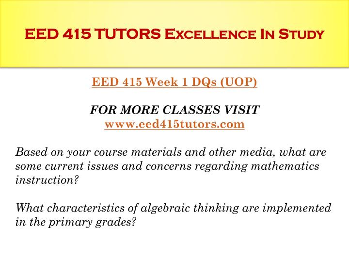 Eed 415 tutors excellence in study1