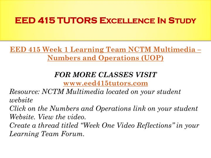 EED 415 TUTORS Excellence In Study