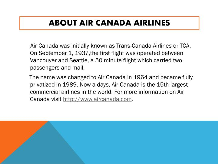 About air canada airlines