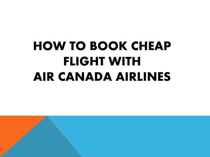 how to book cheap flight with air canada airlines
