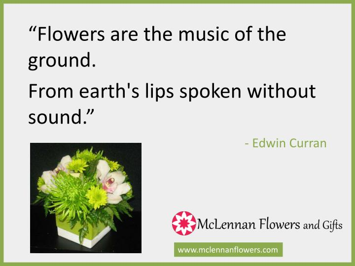 """Flowers are the music of the ground."