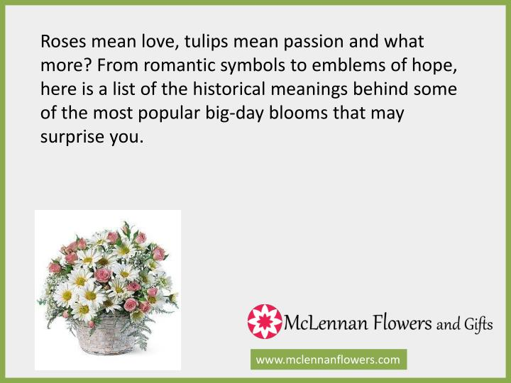 Roses mean love, tulips mean passion and what more? From romantic symbols to emblems of hope, here is a list of the historical meanings behind some of the most popular big-day blooms that may surprise you.