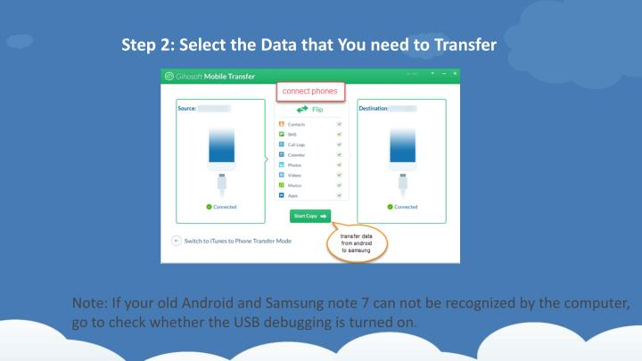 Step 2: Select the Data that You need to Transfer