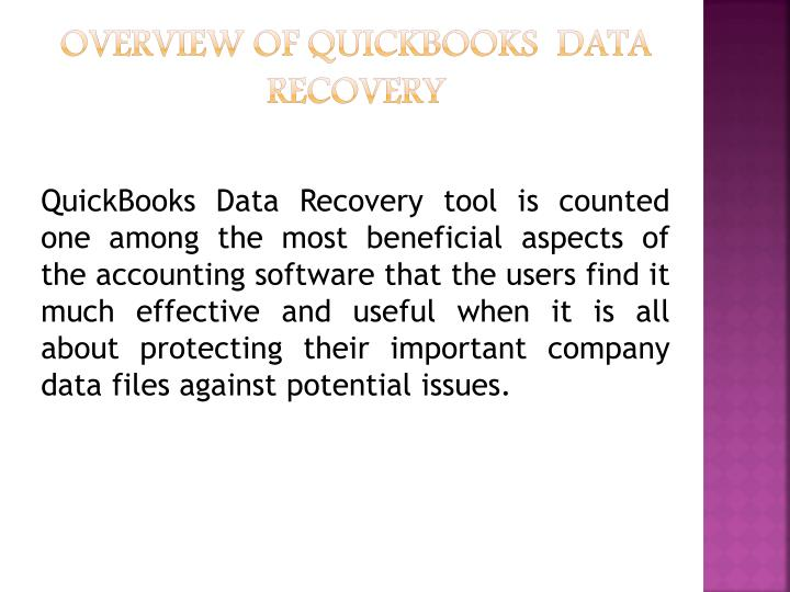 Overview of quickbooks data recovery