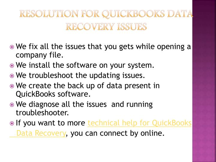 Resolution For QuickBooks Data