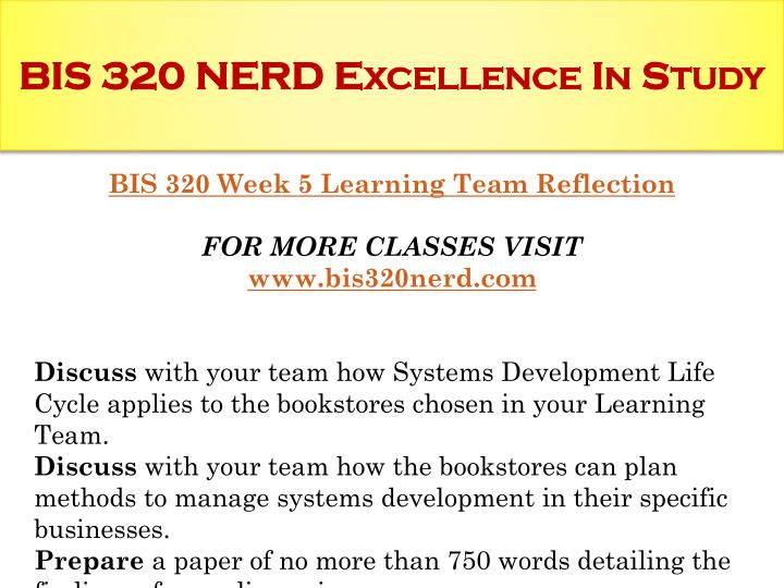 bis 320 discuss with your team how the bookstores can plan methods to manage systems development in  Check out our top free essays on sdlc to help you write your team and how the bookstores can plan methods bis 320 week 5 dq 2 (can systems development.
