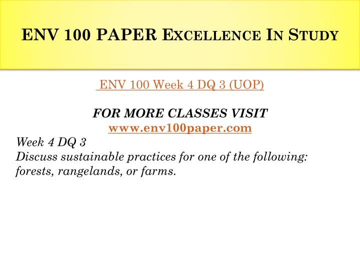 ENV 100 PAPER Excellence In Study