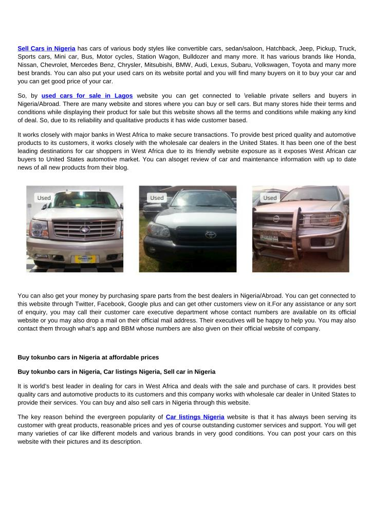 Sell Cars in Nigeria