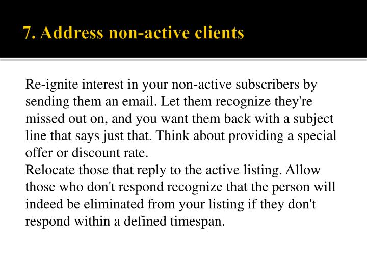 Re-ignite interest in your non-active subscribers by
