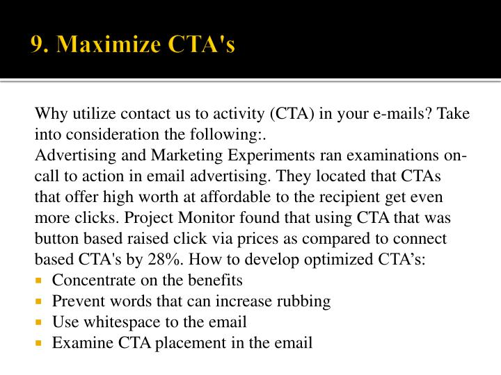 Why utilize contact us to activity (CTA) in your e-mails? Take