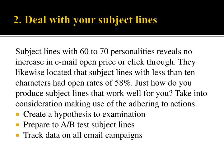 Subject lines with 60 to 70 personalities reveals no