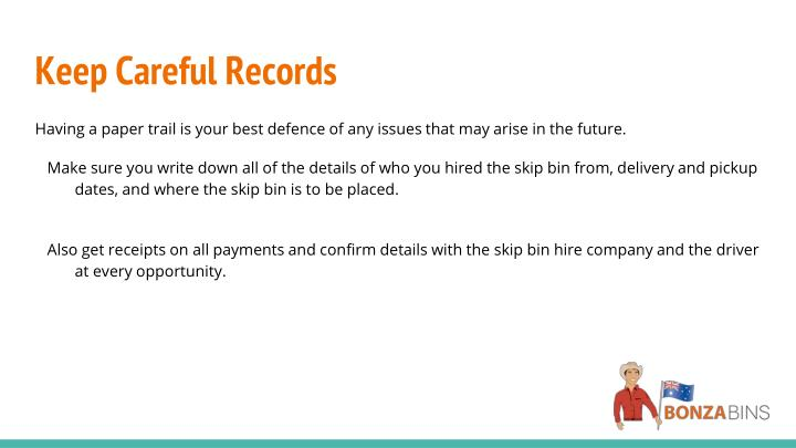 Keep Careful Records