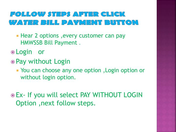 Follow steps after click water bill payment button