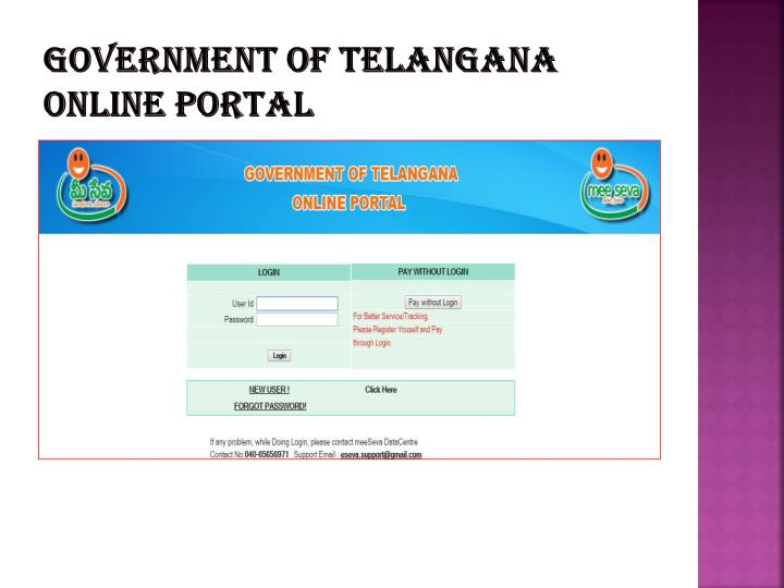 GOVERNMENT OF TELANGANA ONLINE PORTAL