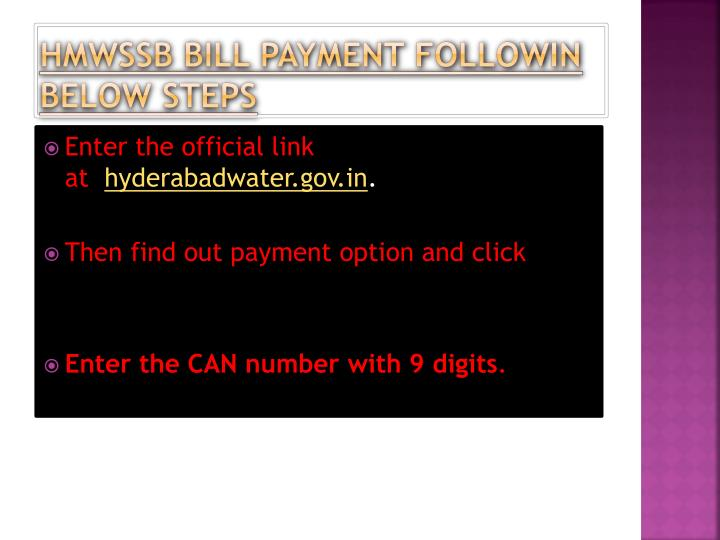 HMWSSB BILL PAYMENT FOLLOWIN BELOW STEPS