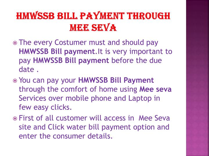 HMWSSB BILL PAYMENT THROUGH MEE SEVA