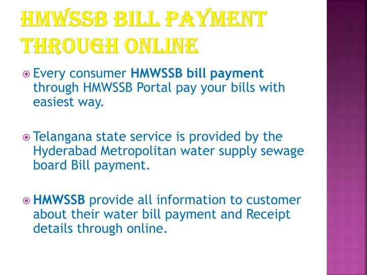 HMWSSB bill payment through online
