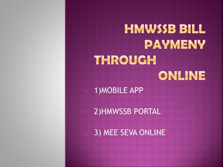 Hmwssb bill paymeny through online