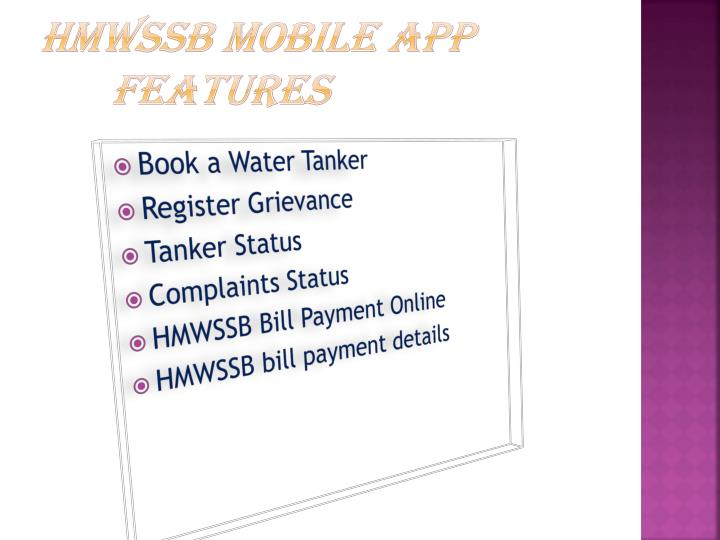 HMWSSB Mobile App Features