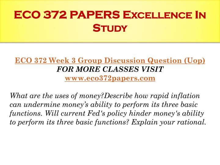 eco 372 fiscal policy paper Macroeconomics terms paper the following paper will define 8 key terms related to macroeconomics for the individual assignment in eco 372 week 1  fiscal policy.
