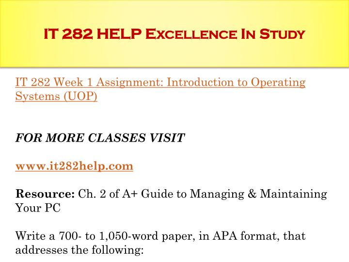 IT 282 HELP Excellence In Study