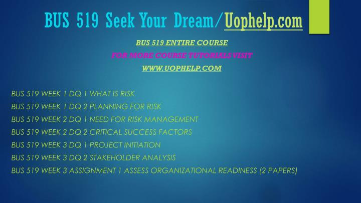 Bus 519 seek your dream uophelp com1